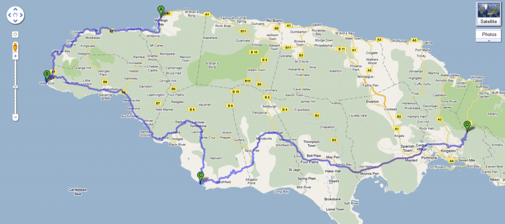 Map of Our Route Through Jamaica