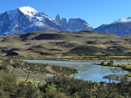 Massive granite formations known as the Torres del Paine